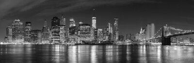 Papiers peints Noir, blanc, ville, nuit, panoramique, image, USA