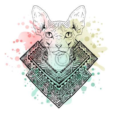 Noir Et Blanc Animal Tete De Chat Aquarelle Art Abstrait Tatouage