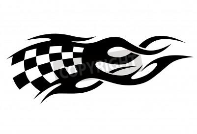 Noir et blanc drapeau à damier tatouage en mouvement avec des sentiers de vitesse car il vagues dans le vent, conceptuel du sport automobile
