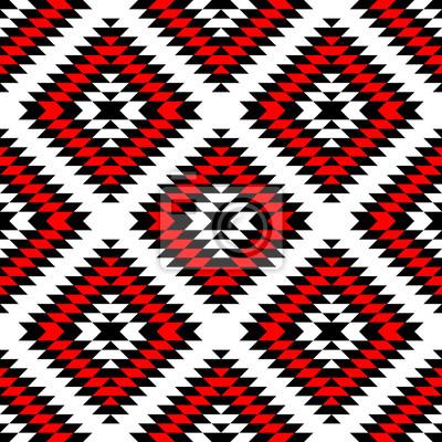 Papiers Peints Noir Rouge Blanc Azteque Ornements Geometrique Ethnique