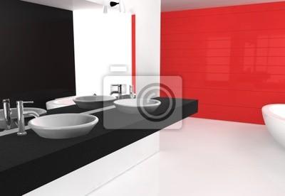 Papiers peints: Noir rouge salle de bains