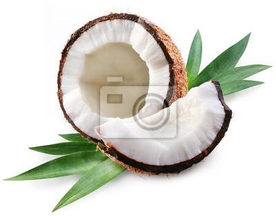 noix de coco sur un fond blanc