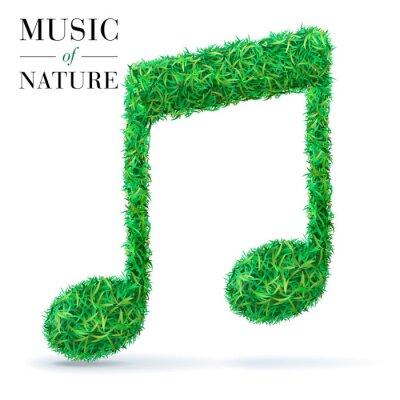 Note de musique texturée d'herbe verte.