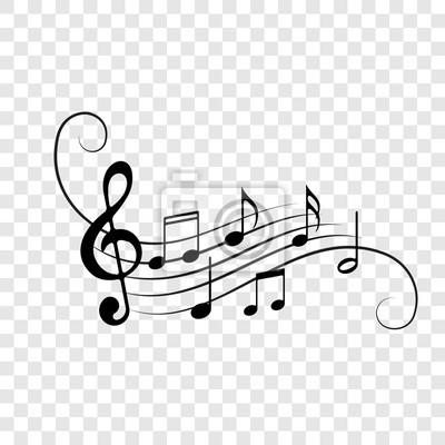 Notes de musique du personnel icônes vectorielles fond