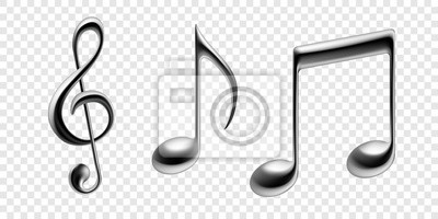 Notes de musique vector icons métalliques isolés