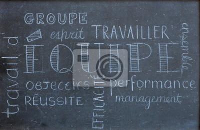 """Papier Peint Tableau Noir nuage de tags """"equipe"""" (tableau noir travail esprit dequipe) papier"""