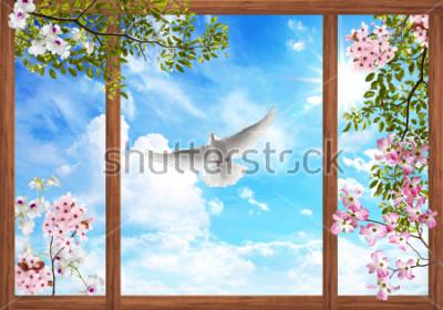 Papiers peints Nuages de ciel 3d et bel arbre, cadre de la fleur