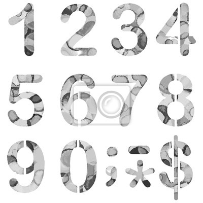Numbers 0 to 9 Painted Stencils watercolor.