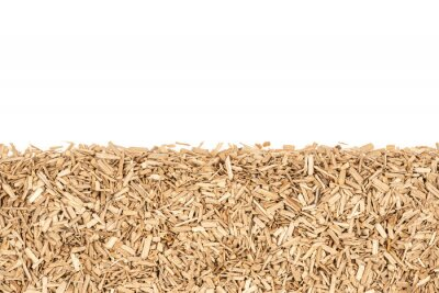 Papiers peints Oak chips sawdust isolated white background. small wood chips for smoking. sawdust texture . ecological fuel