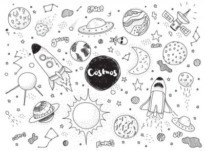 Papiers peints Objets cosmiques définis. Doodles vectoriels à la main. Rockets, planètes, constellations, ufo, étoiles, etc. Thème de l'espace.