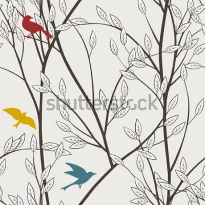 Papiers peints oiseaux et branches colorés