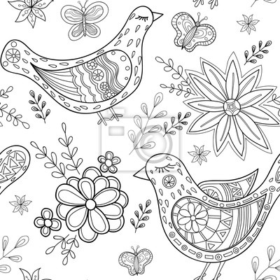 Oiseaux Et Fleurs Doodle Modele Sans Soudure Dessine A La Main