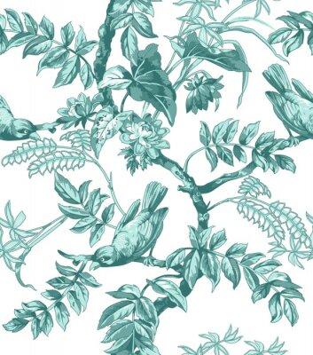 Papiers peints Oiseaux, fleurs, seamless, modèle
