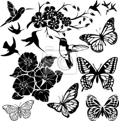 Oiseaux Papillons Et Fleurs Collage Vecteur Papier Peint