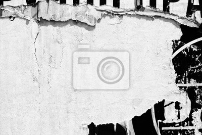 Papiers peints Old blank white grunge ripped torn posters  crumpled paper background wall empty space for text