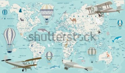 Papiers peints Old geography travel map with regional animals and aircrafts. Vector.