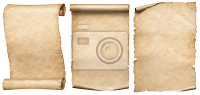 Papiers peints Old paper or parchments collection isolated on white