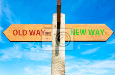 Old Way et New Way signes, le changement de vie image conceptuelle