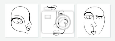 Papiers peints One line drawing abstract face. Modern single line art man and woman portrait, minimalist contour. Great for home decor such as posters, wall art, tote bag, t-shirt print, sticker, mobile case. Vector