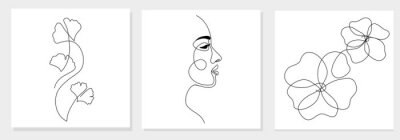 Papiers peints One line drawing abstract woman face, ginkgo biloba leaf, flower. Modern single line art, female portrait, aesthetic contour. Great for poster, wall art, tote bag, t-shirt print, sticker, logo. Vector