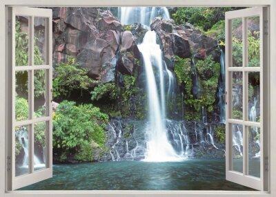 Papiers peints Open window view to Cormoran waterfall, Reunion island