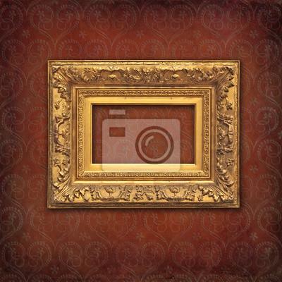 Or Cadre Baroque Sur Un Millesime Texture De Damas Rouge Papier