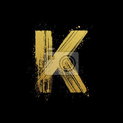 Or étincelant brosse main lettre peinte K