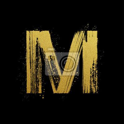 Or étincelant brosse main lettre peinte M