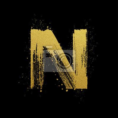 Or étincelant brosse main lettre peinte N