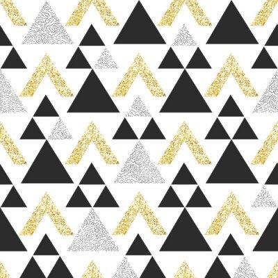 Papiers peints Or fond géométrique triangle. Résumé modèle sans soudure avec des triangles en or et gris foncé.
