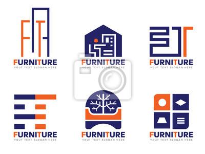 Orange Et Bleu Mobilier Logo Vecteur Set Design Papier Peint