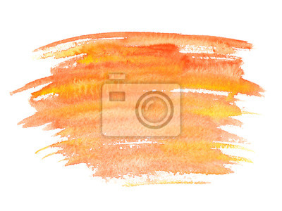 Orange Jaune Aquarelle Tache Peint Blanc Isole Papier