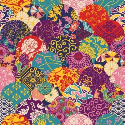 Papiers peints Oriental, Style, tissu, patchwork, vecteur, seamless, modèle