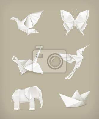 Origami Set Blanc Papier Peint Papiers Peints Origami Pliees