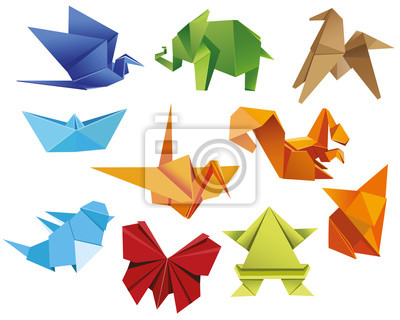 Origami Un Ensemble Dorigami Set Papillon Origami Grue Grenouille Papier Peint Papiers Peints Myloview Fr