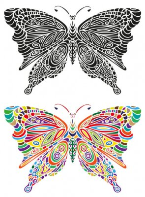 Papiers peints Ornement papillon couleur et noir