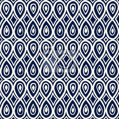 Ornement Sans Couture Dimpression De Woodblock Bleu Motif Ethnique