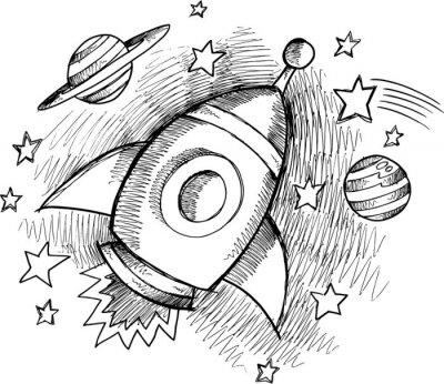 Papiers peints Outer Space Rocket Sketch Vector mignon