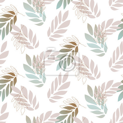 Outline leaves gradient lavender colors seamless vector pattern.