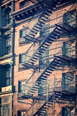 Papiers peints Outside metal fire escape stairs, New York City, vintage process