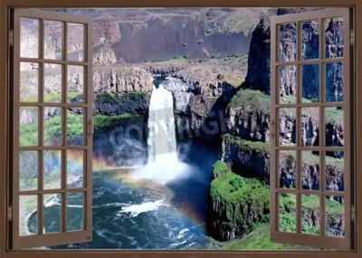 Papiers peints Ouvert, fenêtre, vue, chute eau