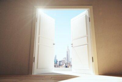 Papiers peints Ouvert, portes, vide, salle, megapolis, ville, gratte-ciel