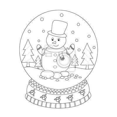 Papiers Peints Page De Livre à Colorier De Globe De Neige De Noël Avec Lhomme