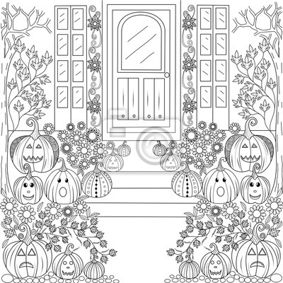 page de livre colorier de la maison de citrouille dhalloween papier peint papiers peints. Black Bedroom Furniture Sets. Home Design Ideas