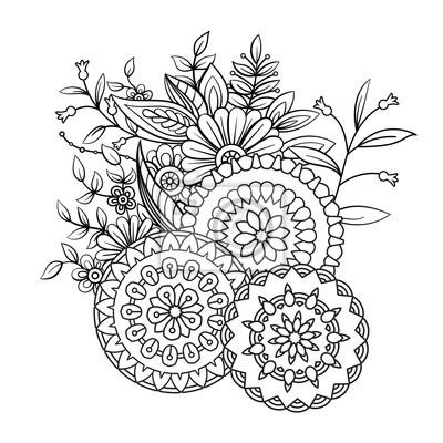 Papiers Peints Page De Livre De Coloriage Adulte Avec Des Fleurs Et Des Mandalas