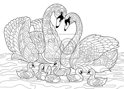 Papiers Peints Page Pour Colorier De La Famille Des Oiseaux De Cygne Dessin