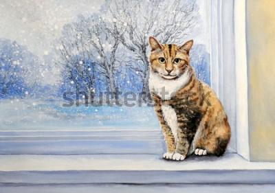 Papiers peints Paintings, watercolor.Cat, window, winter, home, animal.