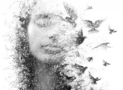 Papiers peints Paintography. Double Exposure portrait of an elegant woman with closed eyes combined with hand made pencil drawing of a flock of birds flying freely resembling disintegrating particles of her being