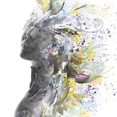 Papiers peints Paintography. Portrait of a woman combined with a painting