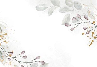 Papiers peints Pale watercolor leaves on white background - vertical botanical design banner. Floral pastel watercolor, vintage style